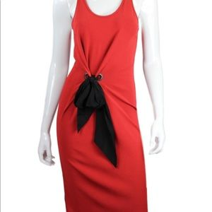 Lanvin Red Sleeveless Dress XS with Black Bow